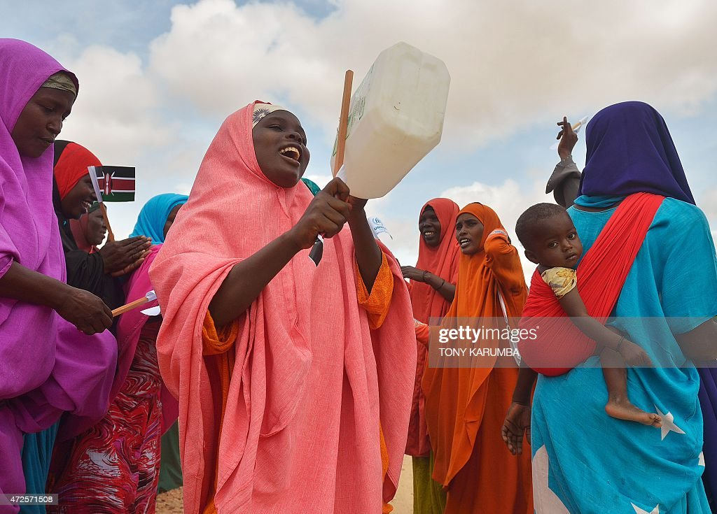 Somali women dance to welcome United Nations High Commissioner for Refugees Antonio Guterres at IFO2 complex of the sprawling Dadaab refugee camp on...