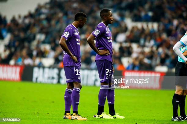 Somalia and Giannelli Imbula of Toulouse during the Ligue 1 match between Olympique Marseille and Toulouse at Stade Velodrome on September 24 2017 in...