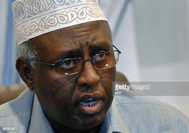 Somalia Information Minister Ali Ahmed Jama Jengeli speaks during a press conference at the presidential palace in Mogadishu on September 5 2009...