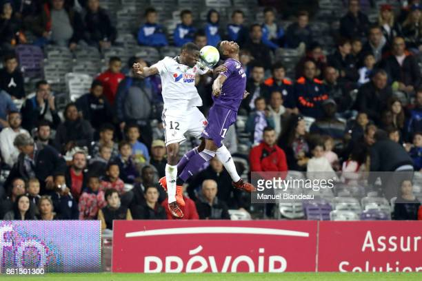 Somalia of Toulouse and Bakaye Dibassy of Amiens during the Ligue 1 match between Toulouse and Amiens SC at Stadium Municipal on October 14 2017 in...