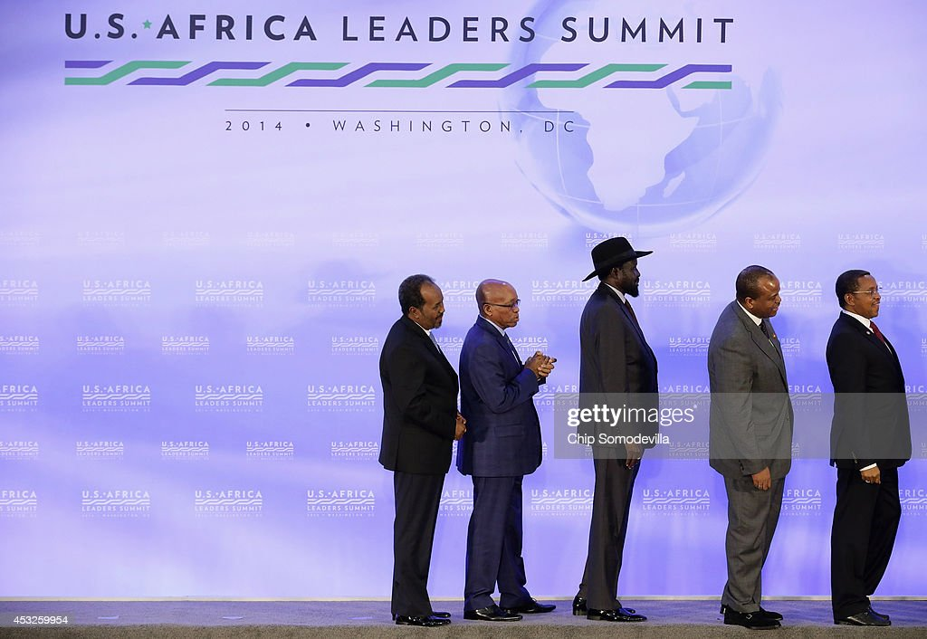 Somalia President <a gi-track='captionPersonalityLinkClicked' href=/galleries/search?phrase=Hassan+Sheikh+Mohamud&family=editorial&specificpeople=10123535 ng-click='$event.stopPropagation()'>Hassan Sheikh Mohamud</a>, South Africa President <a gi-track='captionPersonalityLinkClicked' href=/galleries/search?phrase=Jacob+Zuma&family=editorial&specificpeople=564982 ng-click='$event.stopPropagation()'>Jacob Zuma</a>, South Sudan President Salva Kiir, Swaziland <a gi-track='captionPersonalityLinkClicked' href=/galleries/search?phrase=King+Mswati+III&family=editorial&specificpeople=558940 ng-click='$event.stopPropagation()'>King Mswati III</a> and Tanzania President Jakaya Mrisho Kikwete file out after the 'family photo' during the last day of the U.S.-Africa Leaders Summit at the State Department August 6, 2014 in Washington, DC. Obama hosted the last day of the first-ever summit to strengthen ties between the United States and African nations.