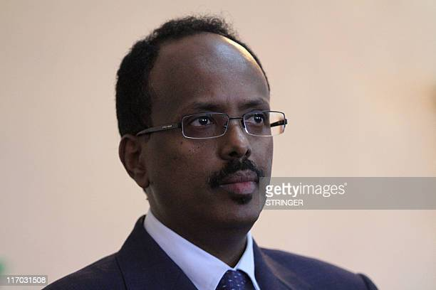 Somalia Prime Minister Mohamed Abdullahi Mohamed speaks during a press conference at the presidential palace in Mogadishu as he announces his...