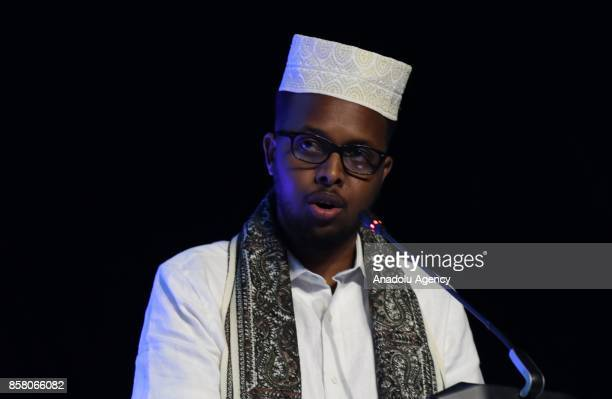 Somalian activist Abdullahi Mahmoud Mohammad speaks during the forum titled 'Poverty Alleviation and Economic Development' within the One Young World...
