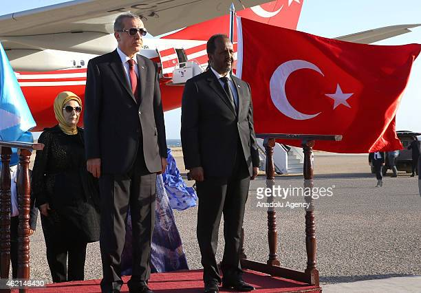 Somalian President Hassan Sheikh Mohamoud bids farewell Turkish President Recep Tayyip Erdogan in Mogadishu Somalia on January 25 2015