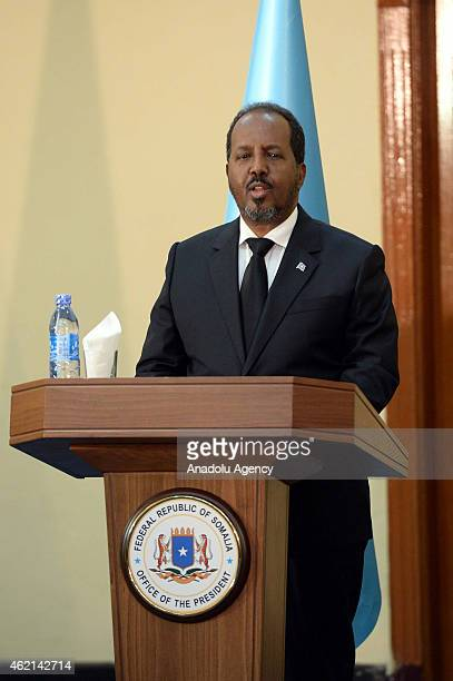 Somalian President Hassan Sheikh Mohamoud speaks during a press conference with Turkish President Recep Tayyip Erdogan in Mogadishu Somalia on...