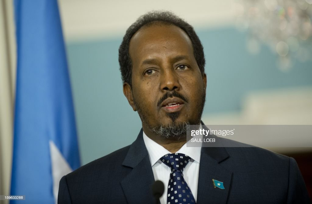 Somalian President Hassan Sheikh Mohamud speaks during a press conference with US Secretary of State Hillary Clinton following meetings at the State Department in Washington, DC, on January 17, 2013. AFP PHOTO / Saul LOEB