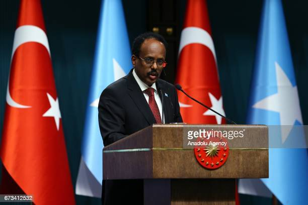 Somalian President Mohamed Abdullahi Mohamed and Turkish President Recep Tayyip Erdogan hold a press conference after their meeting at Presidential...