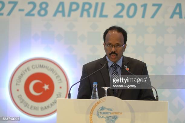 Somalian President Mohamed Abdullahi Mohamed delivers a speech during the TurkeyAfrica First Agriculture Ministers Meeting and Agribusiness Forum at...