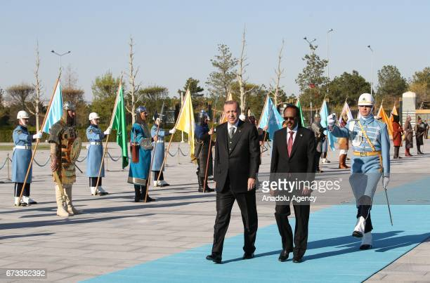 Somalian President Mohamed Abdullahi Mohamed is being welcomed by Turkish President Recep Tayyip Erdogan during an official welcoming ceremony at...