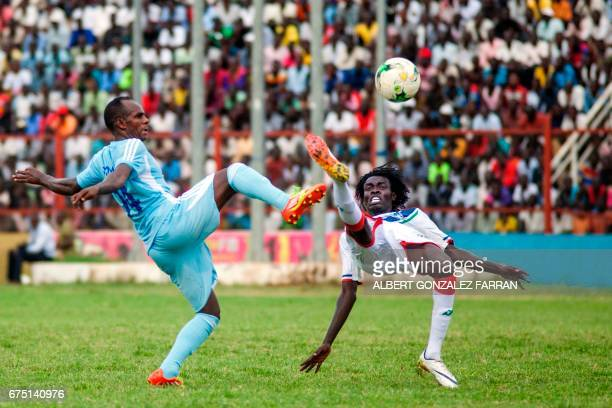 Somalia's Muhudin Mahad fight for the ball with South Sudan's Daniel Chol during the first round African Nations Championship qualifying football...