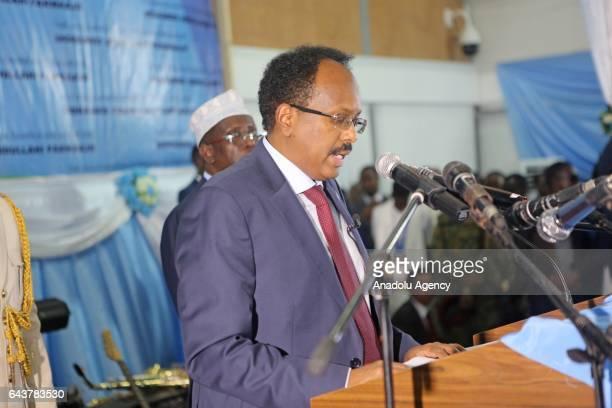 Somalia's new President Mohamed Abdullahi Mohamed gives a speech during his inauguration ceremony in Mogadishu Somalia on February 22 2017 Total of...