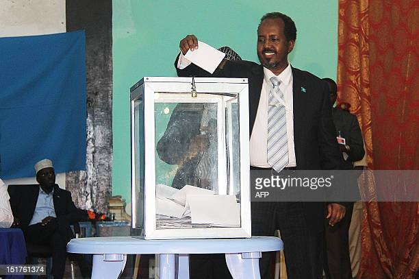 Somalia's newly elected President Hassan Sheikh Mohamud casts his own vote before winning a majority of votes in Mogadishu on September 10 2012...
