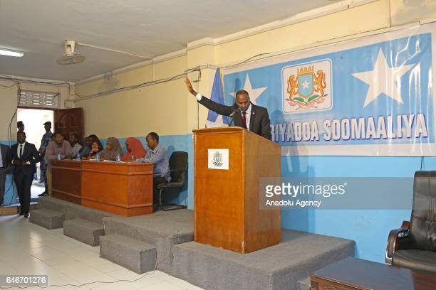 Somalia's newly elected Prime Minister Hassan Ali Khayre delivers a speech after the voting session at the Somalian Public parliament in Moghadishu...