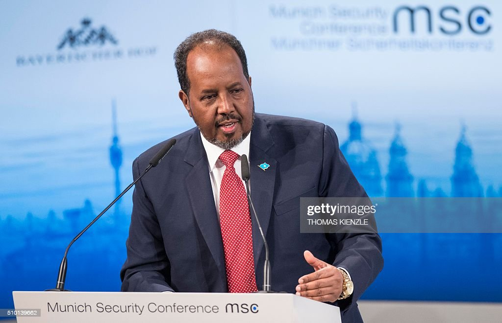 Somalia's President Hassan Sheikh Mohamud speaks at the 52nd Munich Security Conference (MSC) in Munich, southern Germany, on February 14, 2016. / AFP / THOMAS KIENZLE