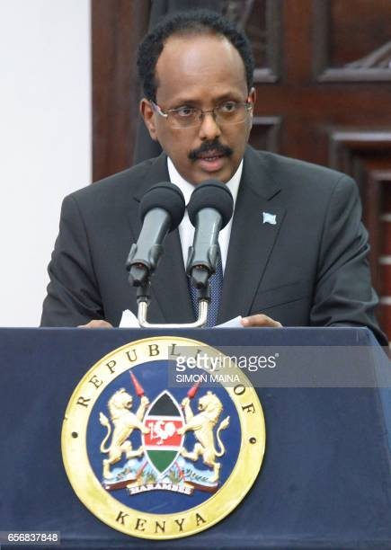 Somalias President Mohamed Abdullahi Mohamed speaks to the media on March 23 at the State house in Nairobi The Kenyan and Somalia governments are...