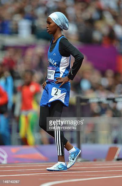Somalia's Zamzam Mohamed Farah prepares for the women's 400m heats at the athletics event during the London 2012 Olympic Games on August 3 2012 in...