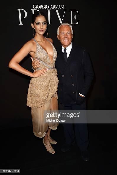 Somam Kapoor and Georgio Armani arrive at the Giorgio Armani Prive show as part of Paris Fashion Week HauteCouture Spring/Summer 2015 on January 27...