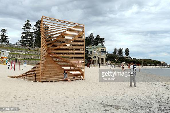 'Somarke' by artists Kwy with Lise Kassow is seen during Sculpture By The Sea 2016 at Cottesloe Beach on March 19 2016 in Perth Australia