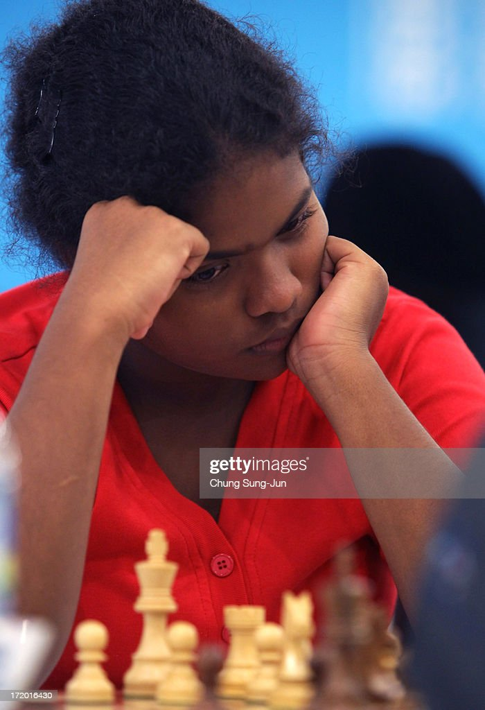Somasiri Hettiwattage Neiunika Met of Sri Lanka competes in the Chess, Women's Classical round 2 during day three of the 4th Asian Indoor & Martial Arts Games at Yonsei International Campus on July 1, 2013 in Incheon, South Korea.