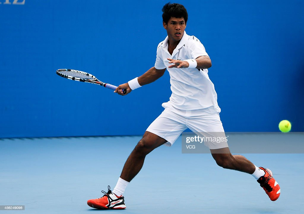 <a gi-track='captionPersonalityLinkClicked' href=/galleries/search?phrase=Somdev+Devvarman&family=editorial&specificpeople=5487712 ng-click='$event.stopPropagation()'>Somdev Devvarman</a> of India competes with Martin Klizan of Slovakia in day two of 2014 China Open on September 28, 2014 in Beijing, China.