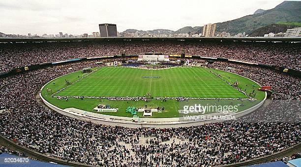 Some 140000 Catholic faithful gather at Rio de Janeiro's Maracana Stadium 12 October to celebrate the day of Brazil's patron saint Nuestra Senora de...