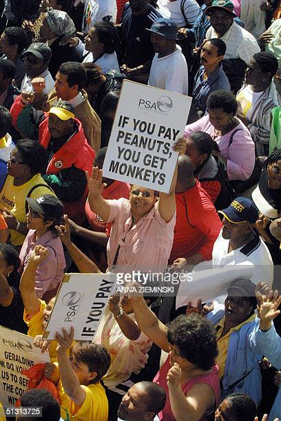 Some 15000 striking teachers nurses and public sector workers took to the streets of Cape Town 16 September 2004 in a march to parliament to demand...