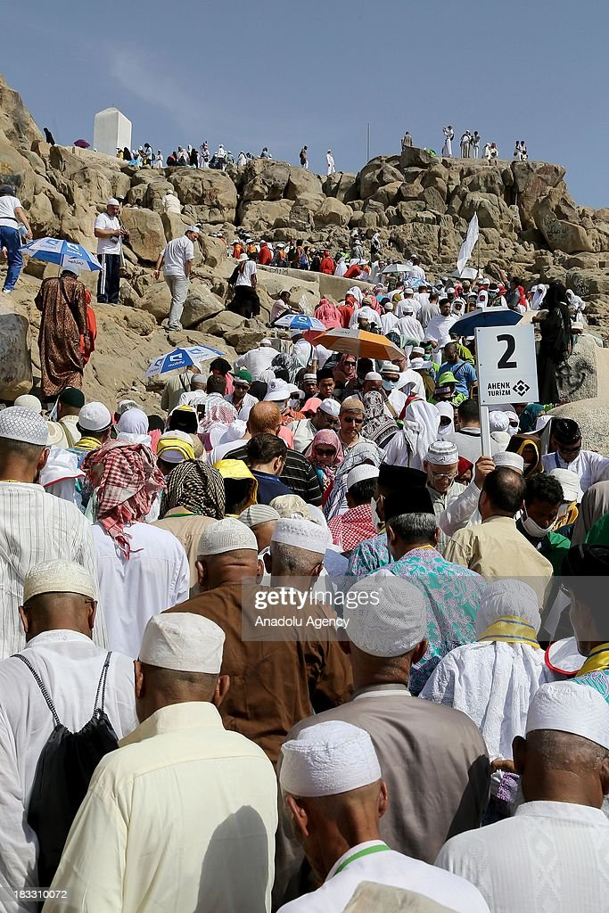 Some 2 millions of Muslims from from all over the world perform visits Jabal ar-Rahmah, so called the Mount Arafat in Mecca, Saudi Arabia on September 5. Muslims arrive to Mecca to circumambulate the kaaba to go on pilgrimage which is held annually. Visitors tour around the site and get informations for the exact day of pilgrimage.