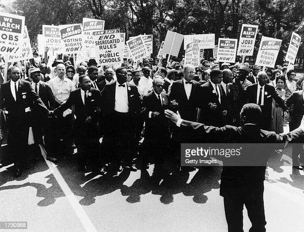 Some 200000 protesters gather to demand equal rights for black Americans on Constitution Avenue in Washington DC Among them are Martin Luther King Jr...