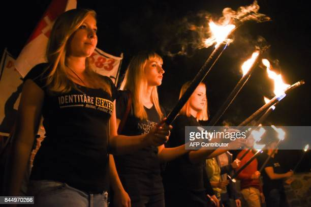 Some 250 members of the farright Identitarian movement attend a 'memorial train' on the occasion of the Battle of Kahlenberg in 1683 when a Polish...