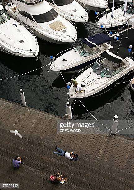 Some 300 large marine pleasure craft filling a specially built marina on Darling Harbour in Sydney are shown on the opening day of the 40th...