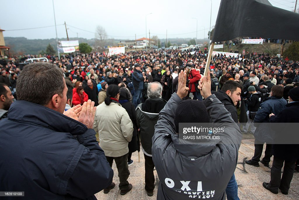 Some 3,000 people demonstrate in Megali Panagia, some 620 kms north of Athens, on 24 February, 2013, against a proposed gold mine of the Canadian group Eldorado Gold. Forty hooded men set fire early on February 17 to the premises of a Greek subsidiary of the Canadian company, Hellenic Gold, in the northern region of Halkidiki.