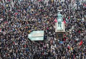 Some 30000 people joined a rally in Copenhagen on September 12 2015 in favour of taking in thousands of refugees seeking shelter in Europe police...