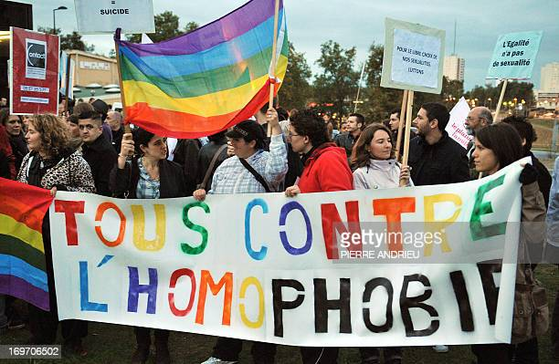 Some 50 people from various Bordeaux homosexual associations demonstrate on October 23 in front of the Rocher de Palmer concert hall in Cenon near...
