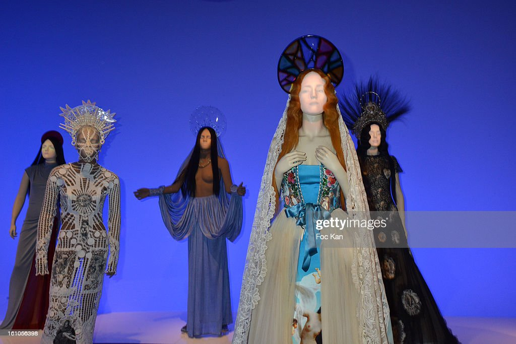 Some animated and talking mannequin dressed by Jean Paul Gaultier are exhibited during the 'Planete Mode' Exhibition Launch by Jean-Paul Gaultier at Kunsthal Museum on February 8, 2013, in Rotterdam, Netherlands.