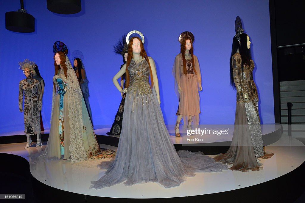 Some animated and talking mannequins, dressed by Jean Paul Gaultier, are exhibited during the 'Planete Mode' Exhibition Launch by Jean-Paul Gaultier at Kunsthal Museum on February 8, 2013, in Rotterdam, Netherlands.