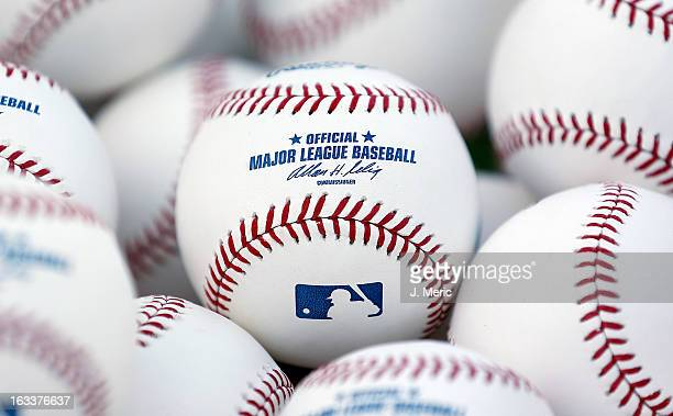 Some batting practice baseballs just before the start of the Grapefruit League Spring Training Game between the Boston Red Sox and the Minnesota...