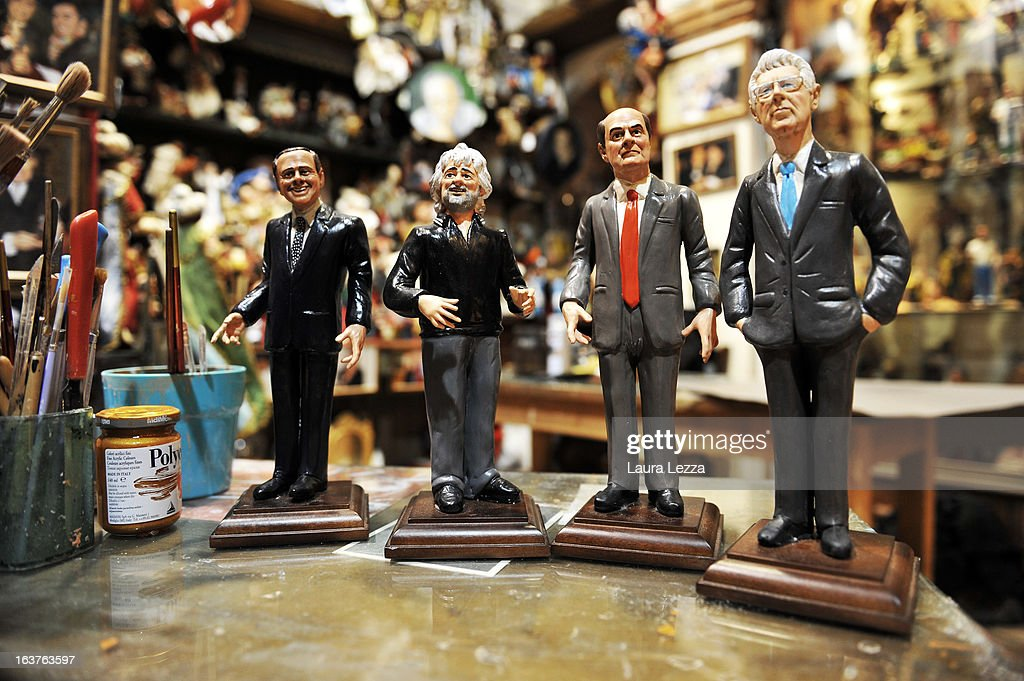 Some commemorative figurine created by artisan Genny Di Virgilio depicting italian politicians (R to L) Mario Monti, Pierluigi Bersani, Beppe Grillo and Silvio Berlusconi are displayed at San Gregorio Armeno on March 14, 2013 in Naples, Italy. The next few days will be decisive for reaching an agreement between the parties and form a government, otherwise new elections will be necessary.