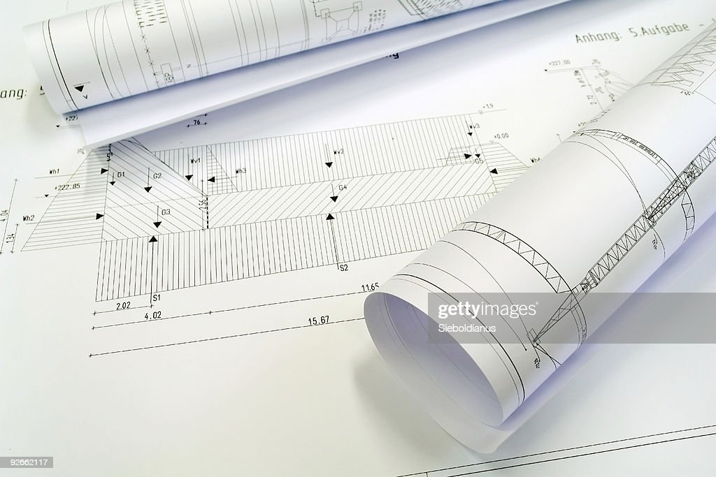 Some Construction Plans : Stock Photo