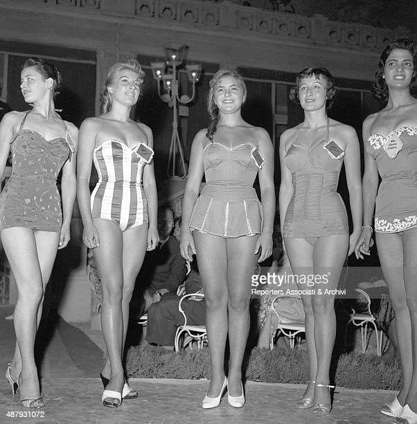 Some contestants at Miss Italia posing for a photograph Rimini 1956