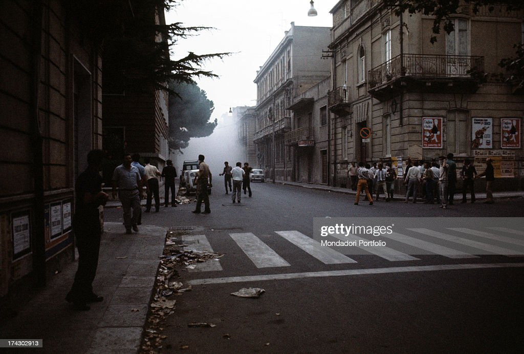 Some demonstrators on the streets of Reggio Calabria due to decision taken by the regional capital Reggio Calabria September 1970