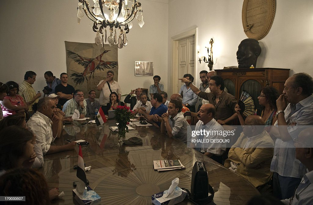 Some Egyptian intellectuals attend a meeting during their sit-in at the office of culture minister Alaa Abdelfattah in Cairo on June 6, 2013, calling for his resignation. AFP PHOTO / KHALED DESOUKI