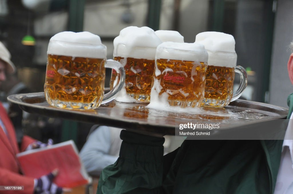 Some glasses of beer on a tray during the opening of Schweizerhaus Wien on March 15, 2013 in Vienna, Austria.