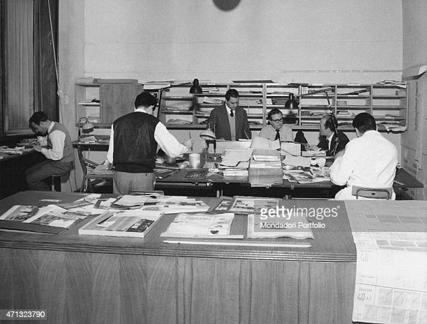 Some graphic designers working in the layout office of the weekly magazine Grazia Italy 1960s