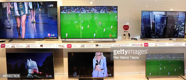 Some HD video of LG are dislpayed during the press conference at the LG Italy Headquarters on July 2 2014 in Milan ItalyLG Elettronics presented to...