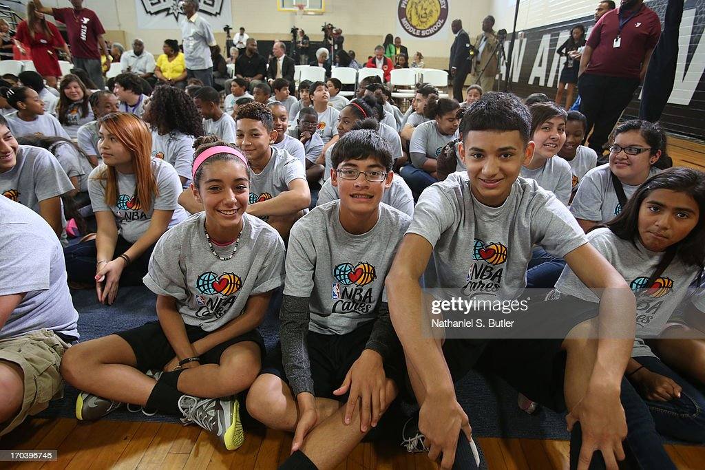 Some kids at the 2013 NBA Cares Legacy Project as part of the 2013 NBA Finals on June 7, 2013 at the Wheatley Middle School in San Antonio, Texas.