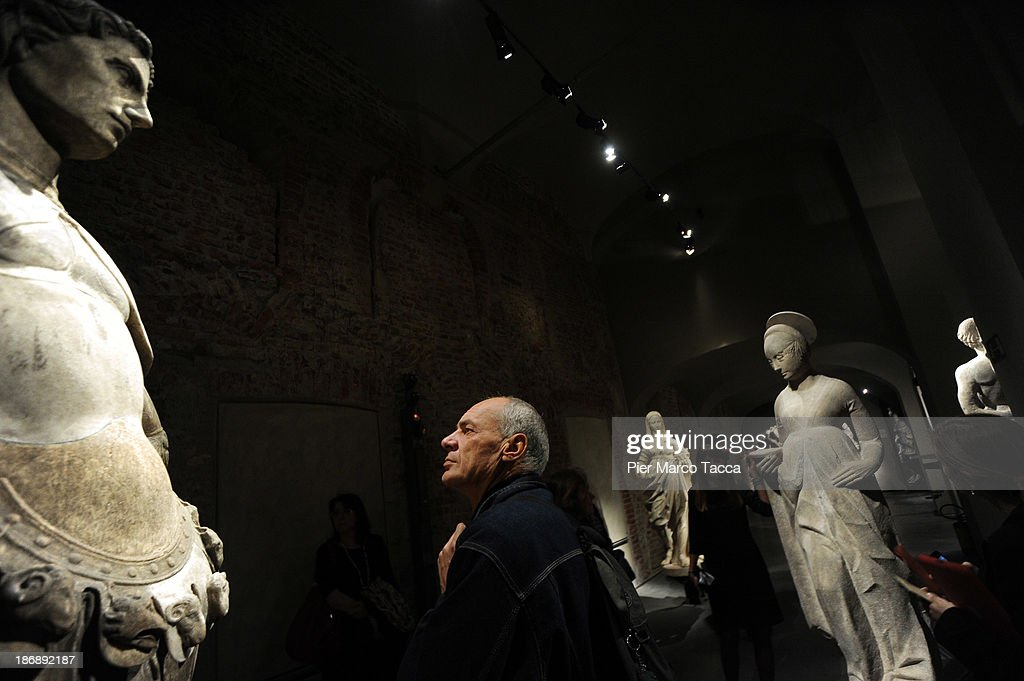 Some marble statues are displayed during the opening exhibition of new Grande Museo del Duomo on November 4, 2013 in Milan, Italy.The opening of the new Grande Museo of Duomo in Palazzo Reale: 27 showrooms, 2000 square meters, 13 thematic areas where the most important treasures of Fabbrica del Duomo are preserved.