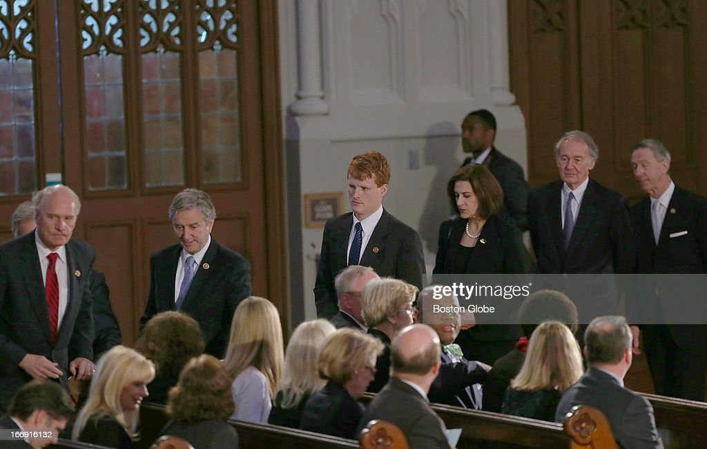 Some members of Massachusetts congress, U.S. Congressman Joseph P. Kennedy, III with Vicky Kennedy, U.S. Congressman Ed Markey, and U.S. Congressman Stephen Lynch arrive at an interfaith healing service at the Cathedral of the Holy Cross for the victims of the Boston Marathon bombing.