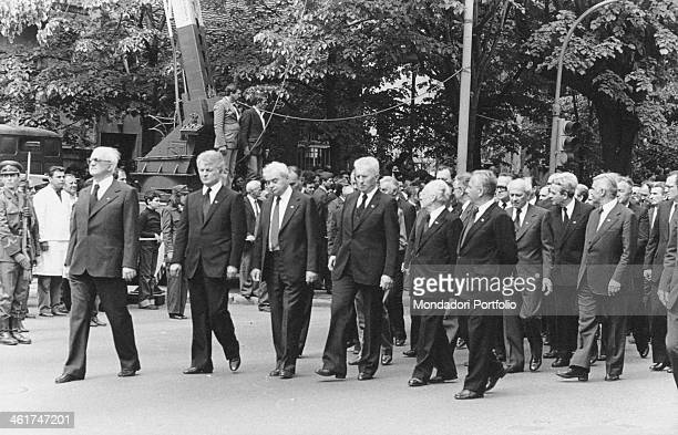 Some men taking part in the funeral procession of the President of the Socialist Federal Republic of Yugoslavia Josip Broz Tito Belgrade 8th May 1980