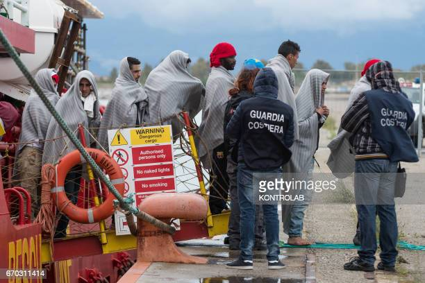 PORT CORIGLIANO CALABRIA ITALY Some migrants during the landing from the vessel Vos Hestia of Save The Children in the port of Corigliano Calabria...