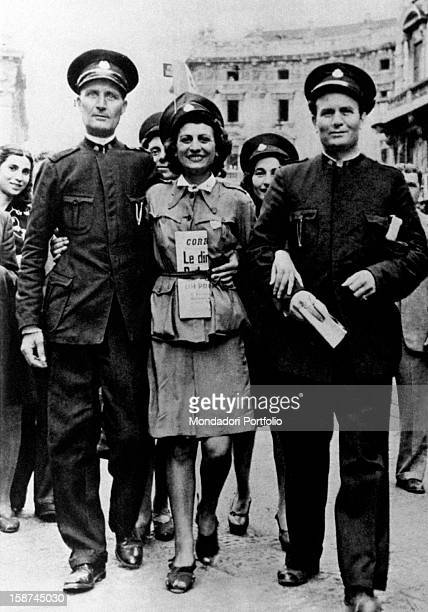 Some Milanese tram drivers celebrating the fall of Benito Mussolini Milan 1943